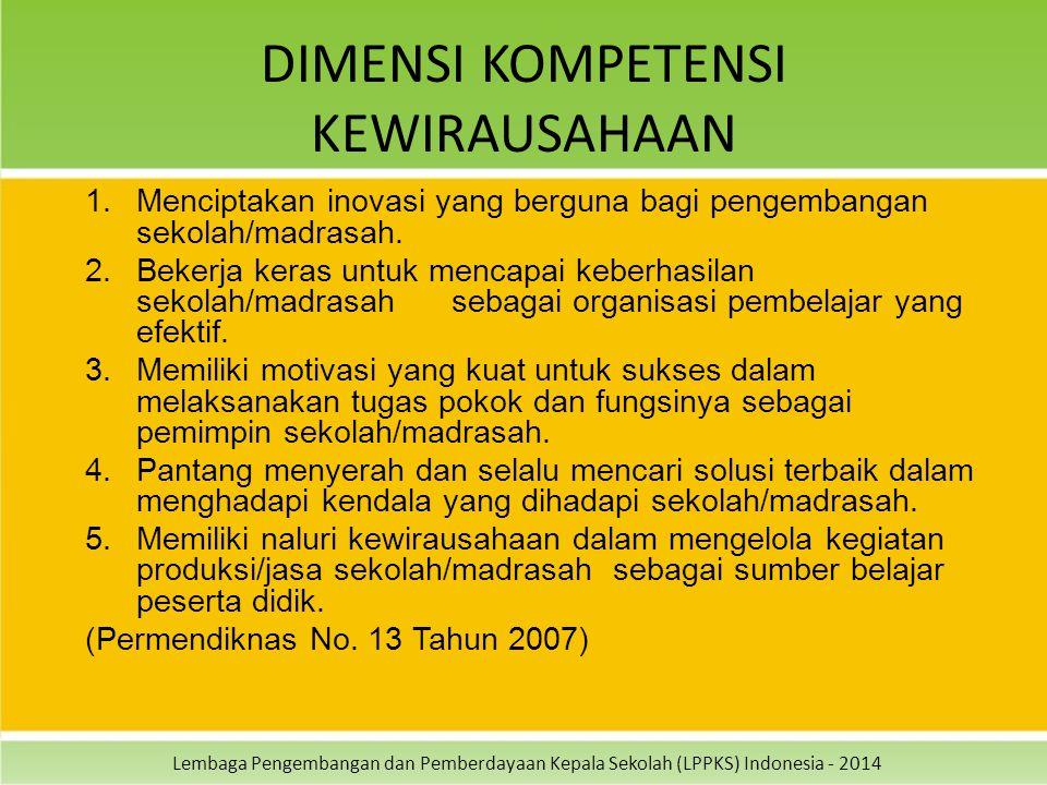 Lembaga Pengembangan dan Pemberdayaan Kepala Sekolah (LPPKS) Indonesia - 2014 DIMENSI KOMPETENSI KEWIRAUSAHAAN 1.Menciptakan inovasi yang berguna bagi