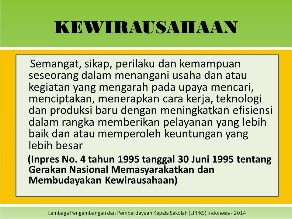 Lembaga Pengembangan dan Pemberdayaan Kepala Sekolah (LPPKS) Indonesia - 2014 KEWIRAUSAHAAN Semangat, sikap, perilaku dan kemampuan seseorang dalam me