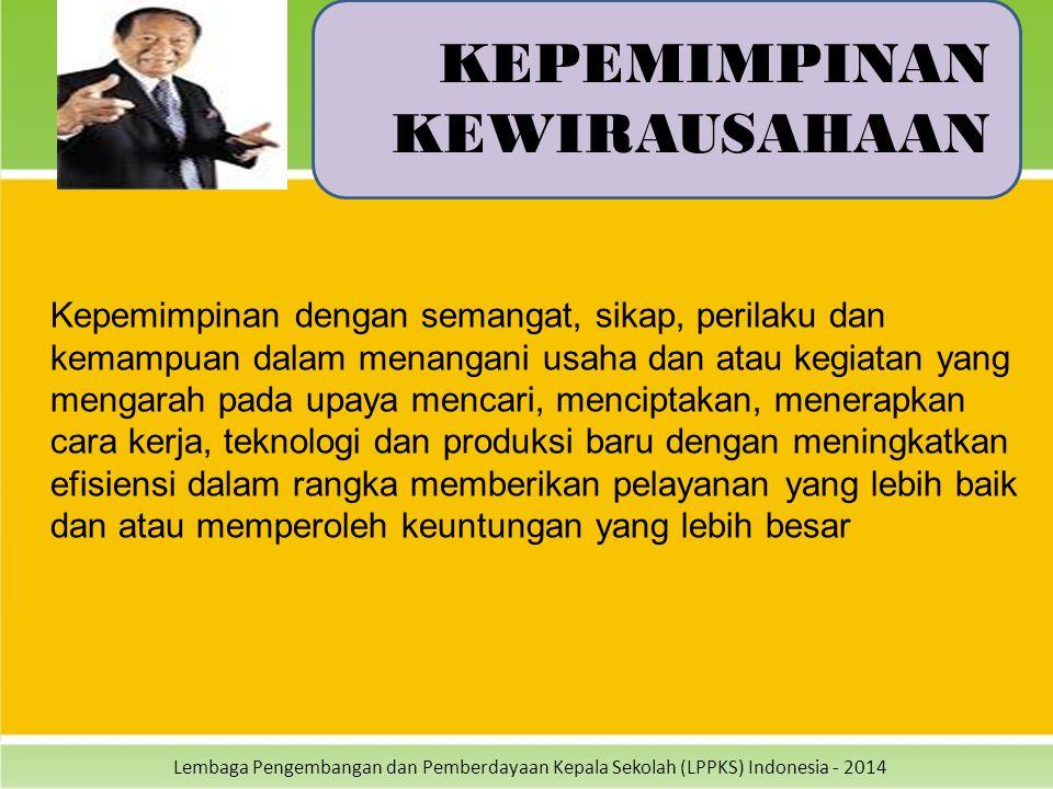 Lembaga Pengembangan dan Pemberdayaan Kepala Sekolah (LPPKS) Indonesia - 2014 KEPEMIMPINAN KEWIRAUSAHAAN Kepemimpinan dengan semangat, sikap, perilaku