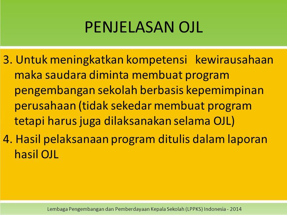 Lembaga Pengembangan dan Pemberdayaan Kepala Sekolah (LPPKS) Indonesia - 2014 PENJELASAN OJL 3. Untuk meningkatkan kompetensi kewirausahaan maka sauda