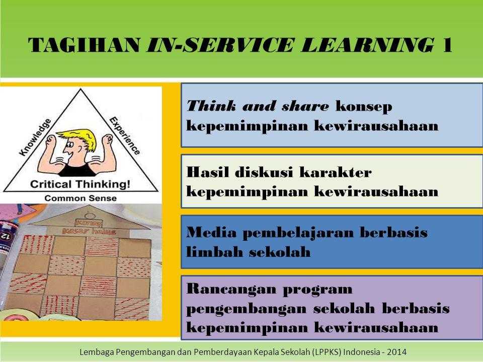 Lembaga Pengembangan dan Pemberdayaan Kepala Sekolah (LPPKS) Indonesia - 2014 TAGIHAN IN-SERVICE LEARNING 1 Think and share konsep kepemimpinan kewira