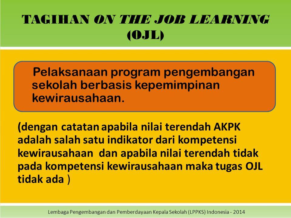 Lembaga Pengembangan dan Pemberdayaan Kepala Sekolah (LPPKS) Indonesia - 2014 TAGIHAN ON THE JOB LEARNING (OJL) Pelaksanaan program pengembangan sekol