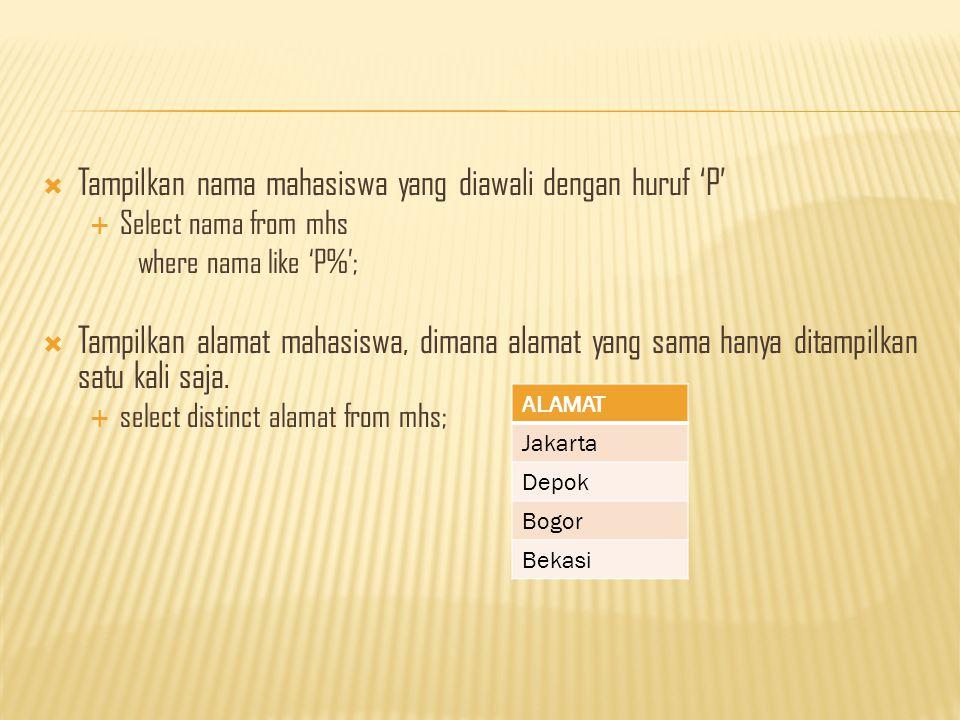  Tampilkan nama mahasiswa yang diawali dengan huruf 'P'  Select nama from mhs where nama like 'P%';  Tampilkan alamat mahasiswa, dimana alamat yang sama hanya ditampilkan satu kali saja.