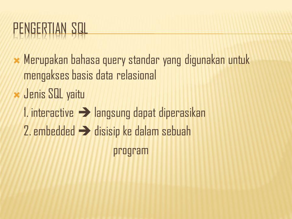  Merupakan bahasa query standar yang digunakan untuk mengakses basis data relasional  Jenis SQL yaitu 1.