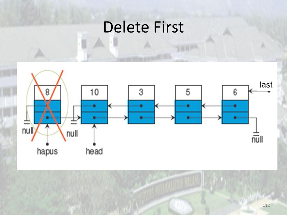 111 Delete First 3. head = hapus.next last