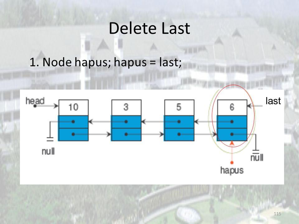 114 Delete Last Asumsi linked list awal : last