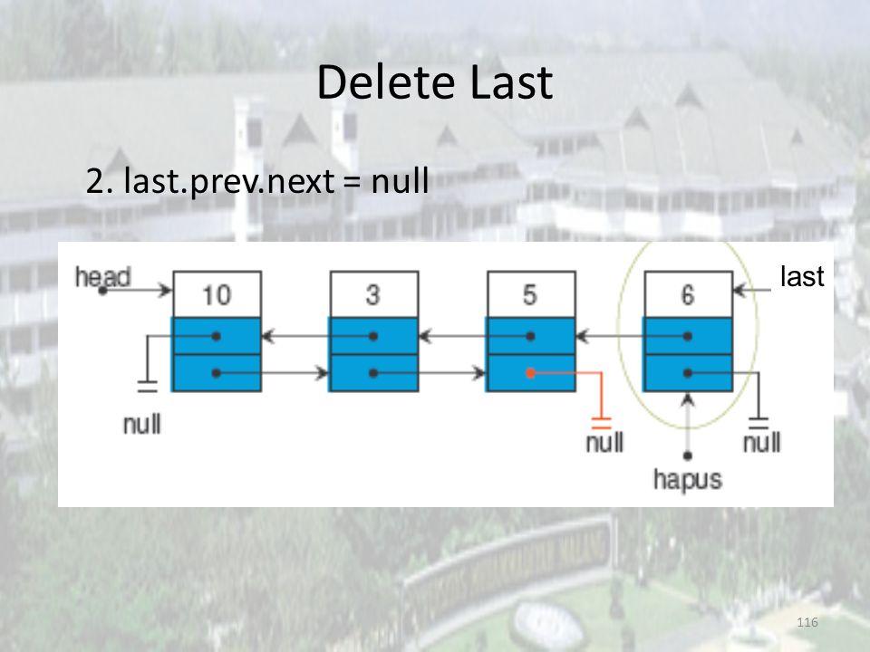 115 Delete Last 1. Node hapus; hapus = last; last