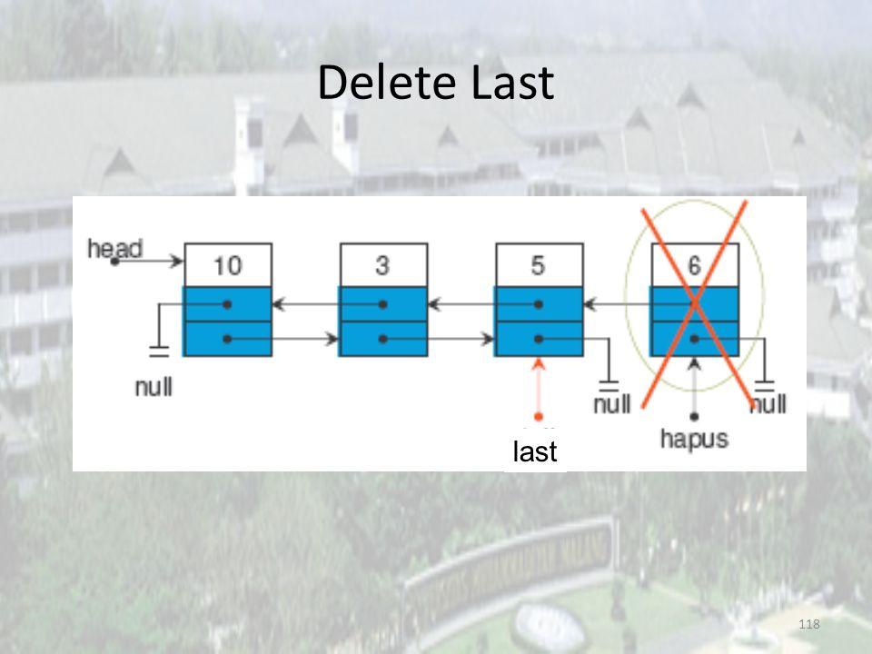 117 Delete Last 3. last = hapus.prev last