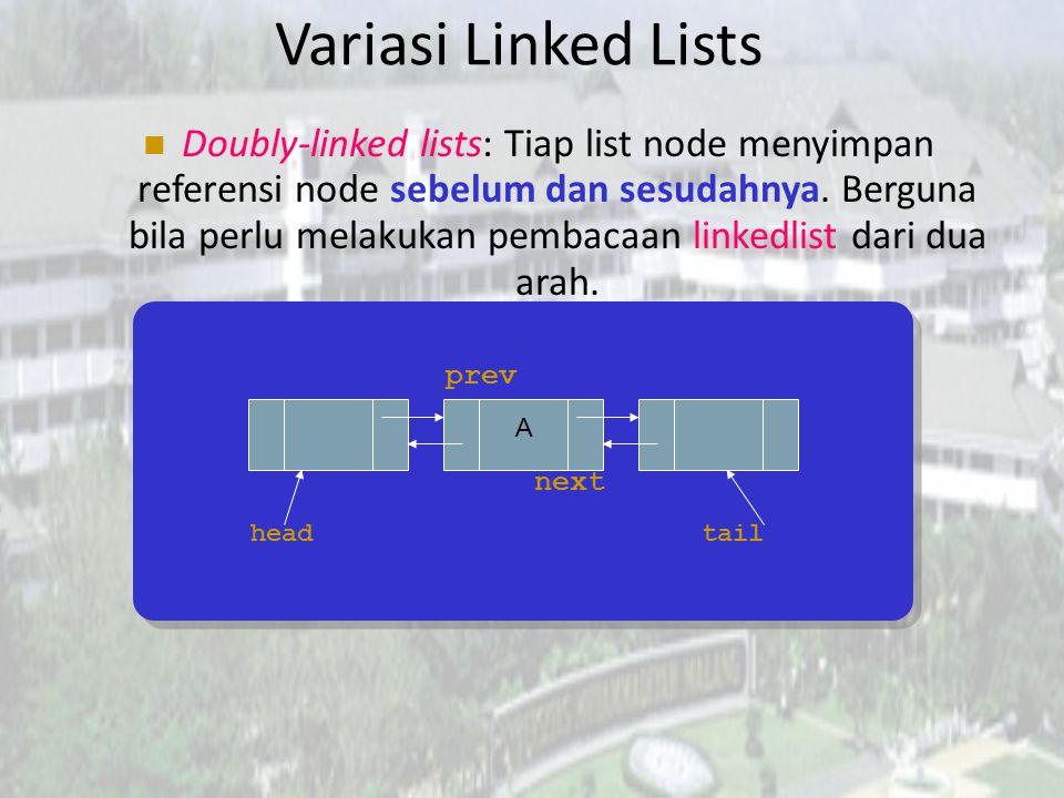 Latihan Buatlah sebuah method untuk menghitung jumlah elemen dalam sebuah linked list! public static int listSize (LinkedList theList) { }