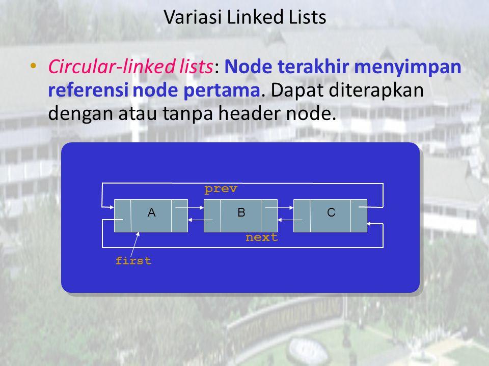 Doubly-linked lists: Tiap list node menyimpan referensi node sebelum dan sesudahnya. Berguna bila perlu melakukan pembacaan linkedlist dari dua arah.