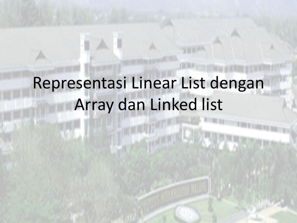 Linear List Teknik Informatika Universitas Muhammadiyah Malang SP - 2013 Algoritma & Struktur Data