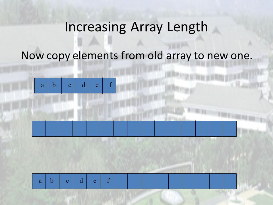 Increasing Array Length Length of array element[] is 6. abcdef newArray = new Object[15]; First create a new and larger array
