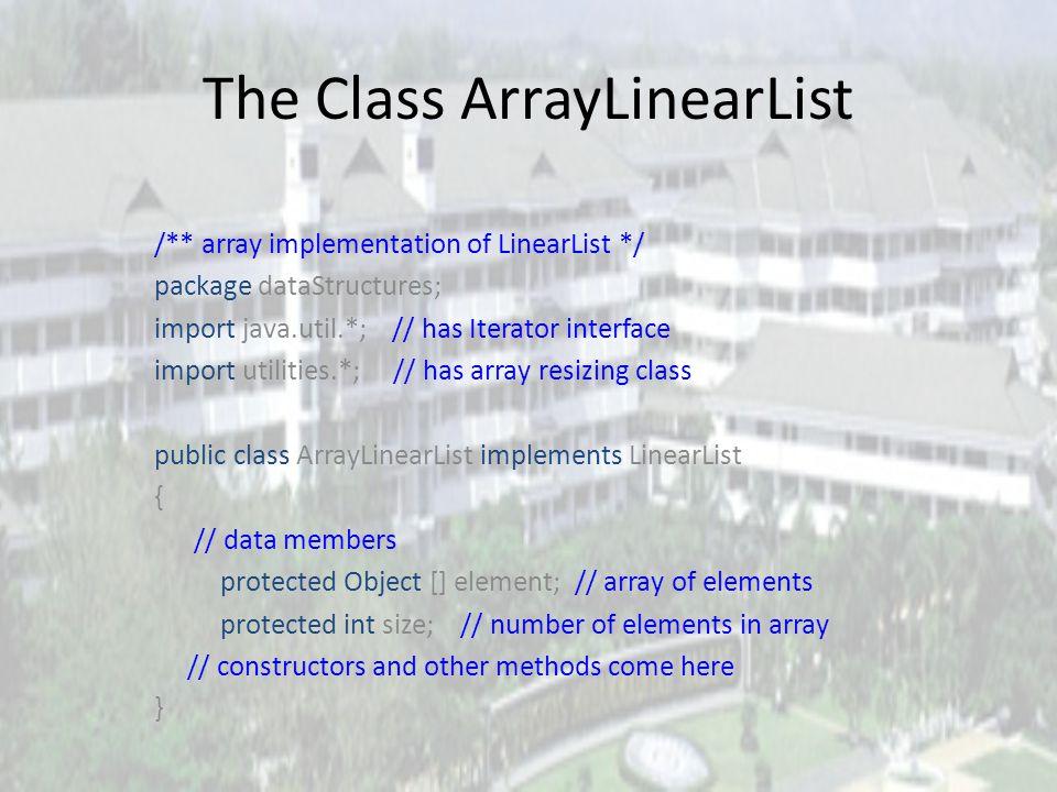Array Of Linear Lists LinearList [] x = new LinearList [4]; x[0] = new ArrayLinearList(20); x[1] = new Chain(); x[2] = new Chain(); x[3] = new ArrayLi