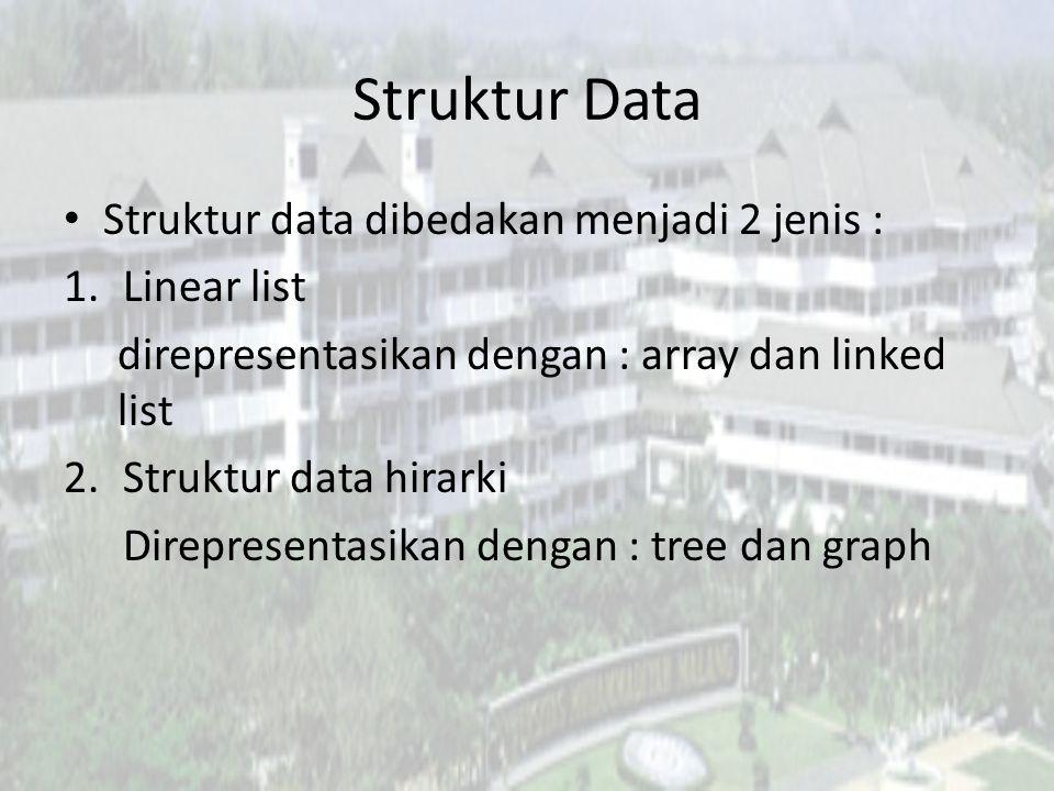 Struktur Data Struktur data dibedakan menjadi 2 jenis : 1.Linear list direpresentasikan dengan : array dan linked list 2.Struktur data hirarki Direpresentasikan dengan : tree dan graph