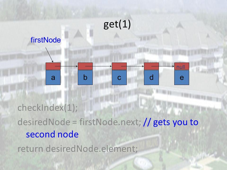 get(0) checkIndex(0); desiredNode = firstNode; // gets you to first node return desiredNode.element; abcde null firstNode