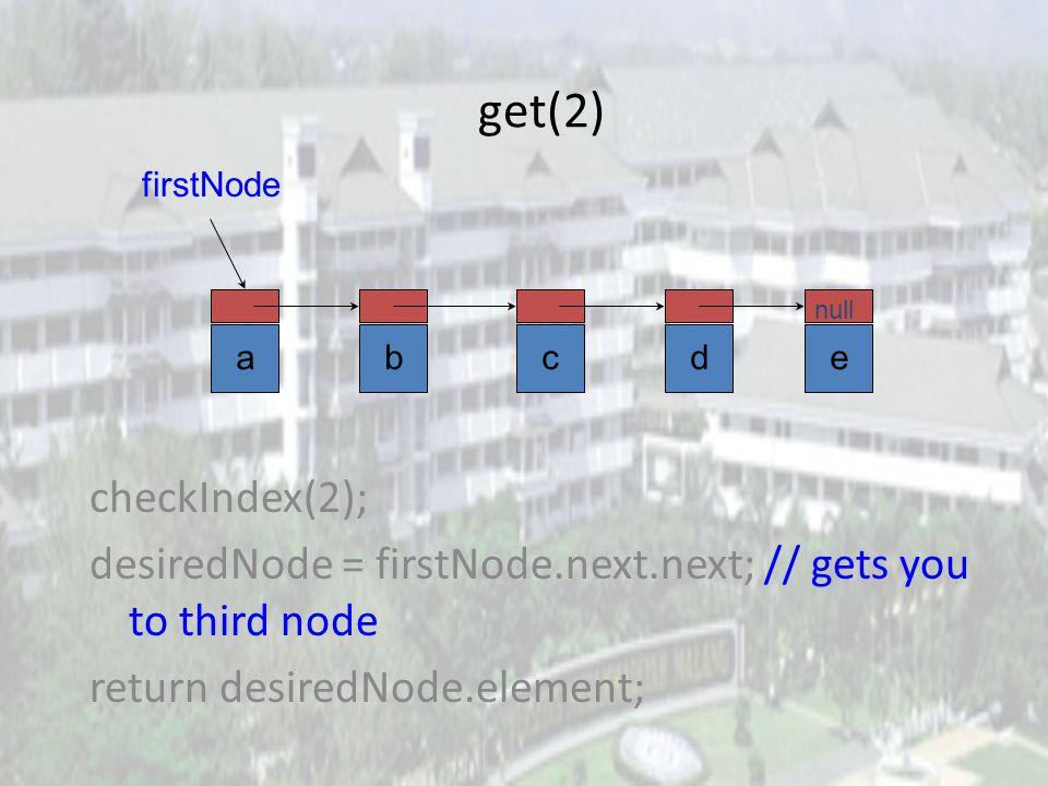 get(1) checkIndex(1); desiredNode = firstNode.next; // gets you to second node return desiredNode.element; abcde null firstNode