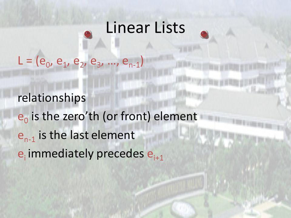 Linear Lists Disebut juga dengan ordered list. Bentuk instance dari linear list : (e 0, e 1, e 2, …, e n-1 ) where e i denotes a list element n >= 0 i