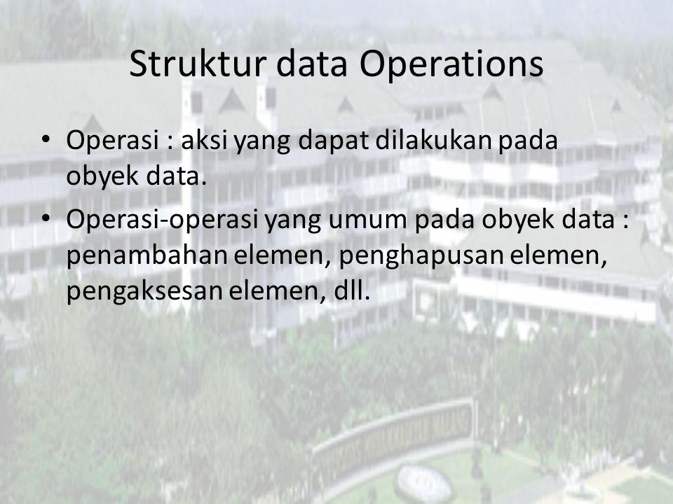 Struktur data Operations Operasi : aksi yang dapat dilakukan pada obyek data.