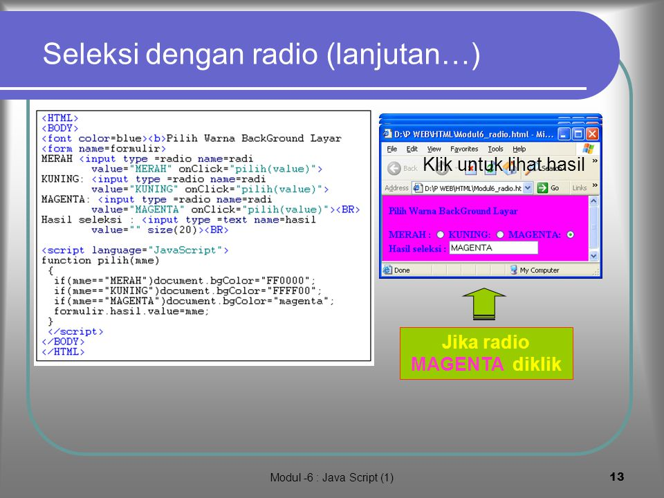 Modul -6 : Java Script (1)12 7.