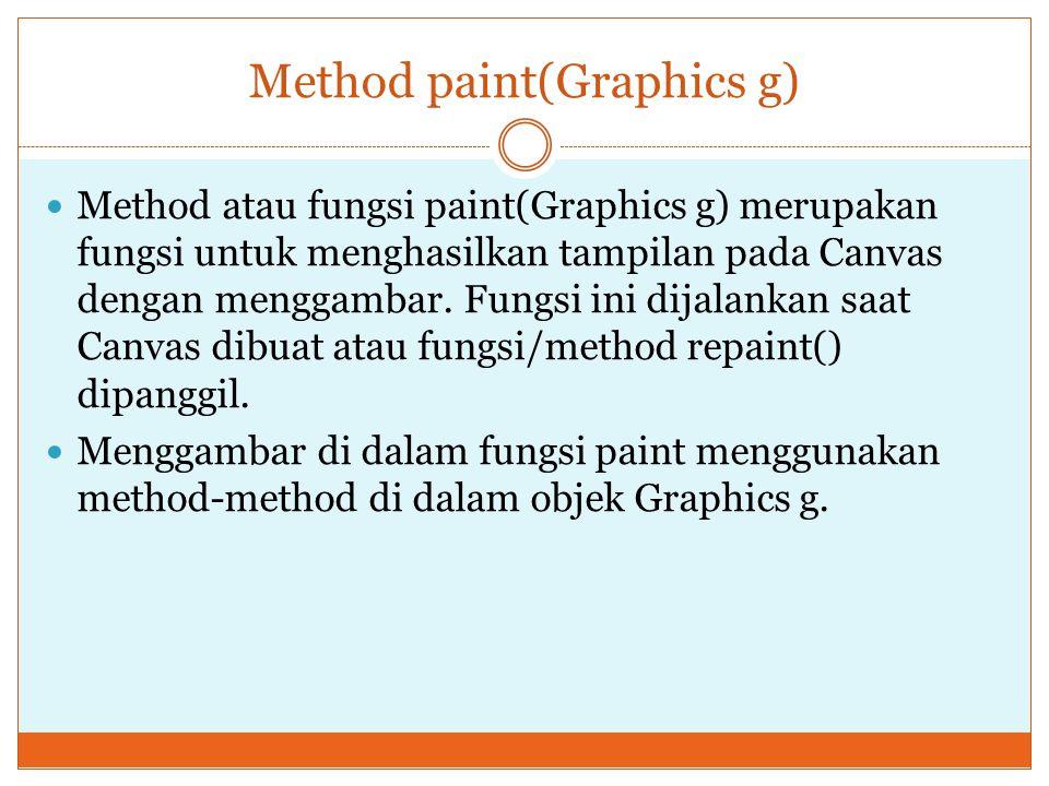 Method paint(Graphics g) Method atau fungsi paint(Graphics g) merupakan fungsi untuk menghasilkan tampilan pada Canvas dengan menggambar. Fungsi ini d