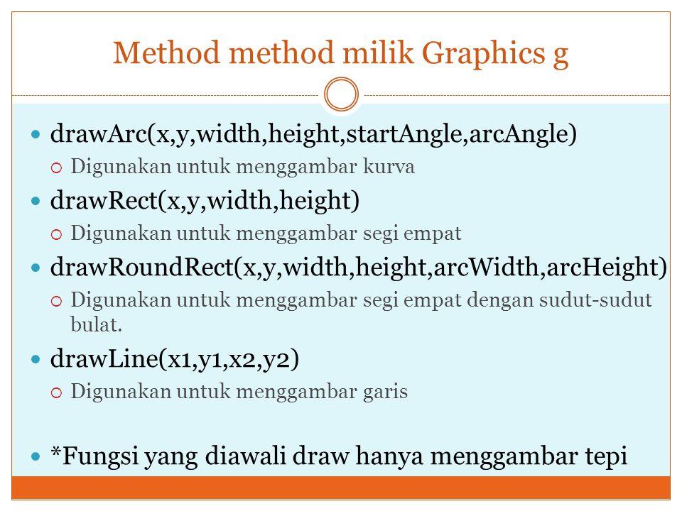 Method method milik Graphics g drawArc(x,y,width,height,startAngle,arcAngle)  Digunakan untuk menggambar kurva drawRect(x,y,width,height)  Digunakan