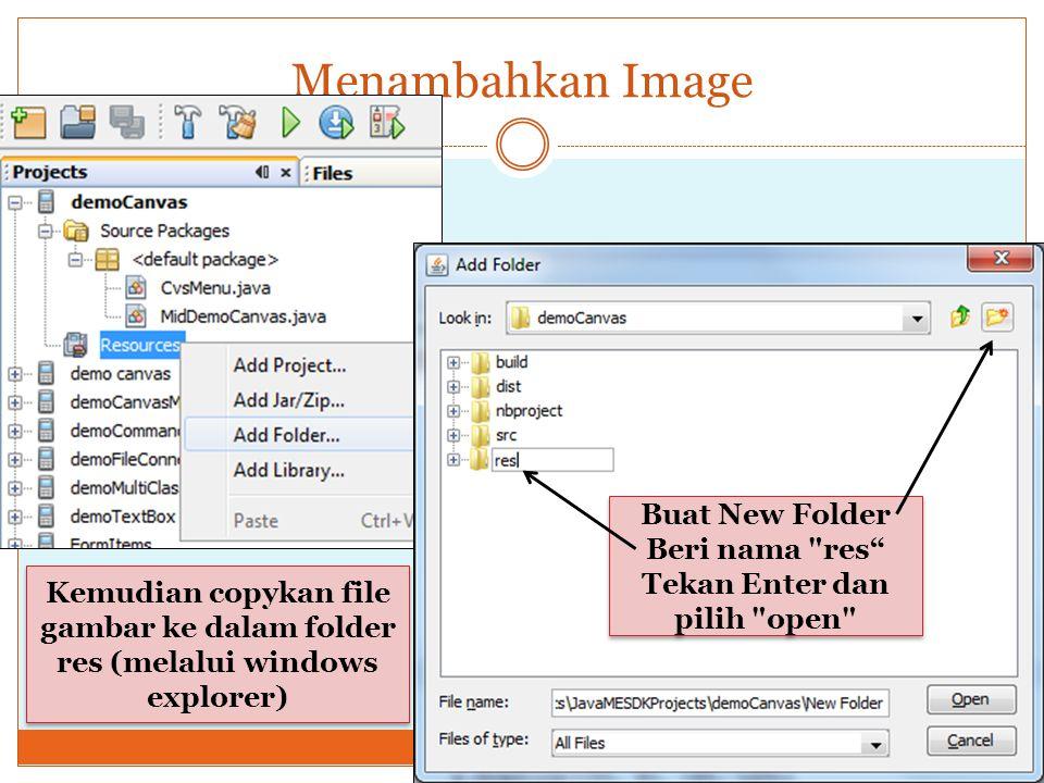 Menambahkan Image Buat New Folder Beri nama