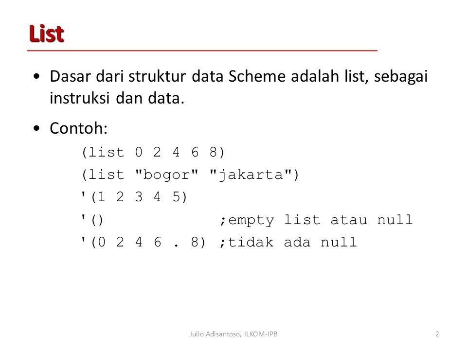 List Dasar dari struktur data Scheme adalah list, sebagai instruksi dan data.