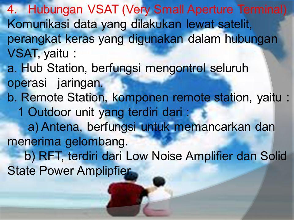 4. Hubungan VSAT (Very Small Aperture Terminal) Komunikasi data yang dilakukan lewat satelit, perangkat keras yang digunakan dalam hubungan VSAT, yait