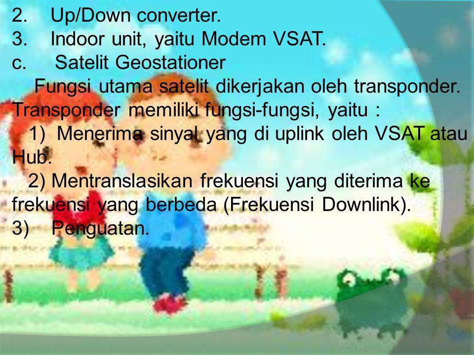 2. Up/Down converter. 3. Indoor unit, yaitu Modem VSAT. c. Satelit Geostationer Fungsi utama satelit dikerjakan oleh transponder. Transponder memiliki