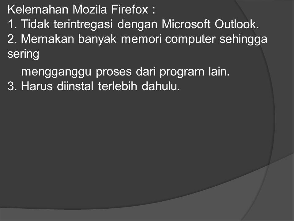 Kelemahan Mozila Firefox : 1. Tidak terintregasi dengan Microsoft Outlook. 2. Memakan banyak memori computer sehingga sering mengganggu proses dari pr