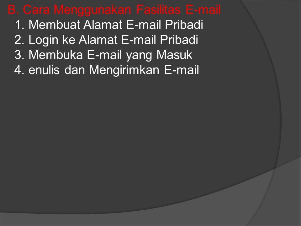 B. Cara Menggunakan Fasilitas E-mail 1. Membuat Alamat E-mail Pribadi 2. Login ke Alamat E-mail Pribadi 3. Membuka E-mail yang Masuk 4. enulis dan Men
