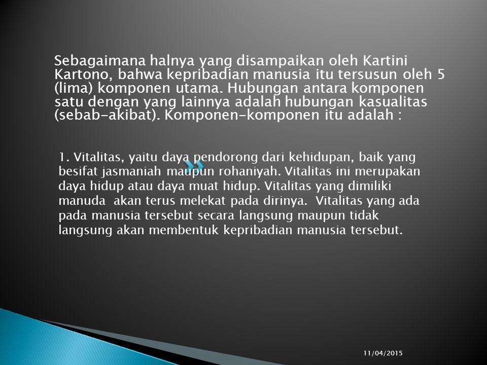 Sebagaimana halnya yang disampaikan oleh Kartini Kartono, bahwa kepribadian manusia itu tersusun oleh 5 (lima) komponen utama.