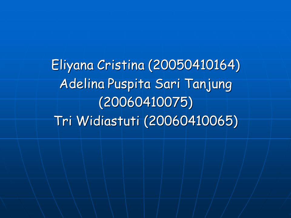 Eliyana Cristina (20050410164) Adelina Puspita Sari Tanjung (20060410075) Tri Widiastuti (20060410065)