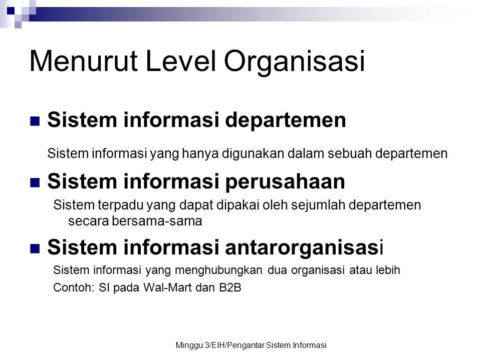 Minggu 3/EIH/Pengantar Sistem Informasi Menurut Level Organisasi Sistem informasi departemen Sistem informasi yang hanya digunakan dalam sebuah depart