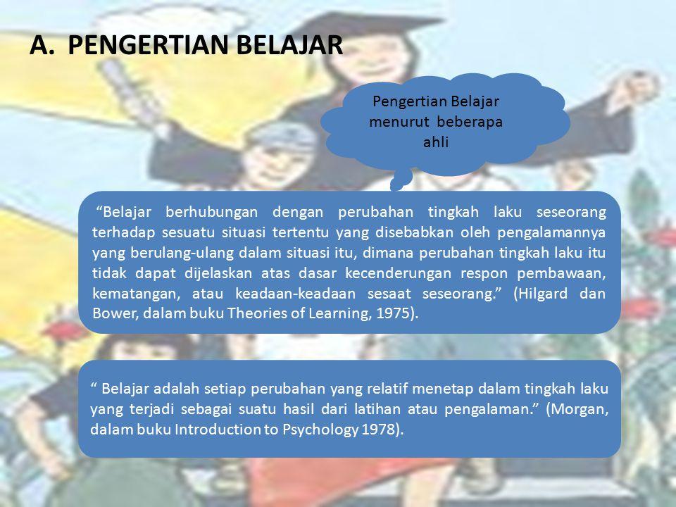 A.PENGERTIAN BELAJAR Pengertian Belajar menurut beberapa ahli Belajar berhubungan dengan perubahan tingkah laku seseorang terhadap sesuatu situasi tertentu yang disebabkan oleh pengalamannya yang berulang-ulang dalam situasi itu, dimana perubahan tingkah laku itu tidak dapat dijelaskan atas dasar kecenderungan respon pembawaan, kematangan, atau keadaan-keadaan sesaat seseorang. (Hilgard dan Bower, dalam buku Theories of Learning, 1975).