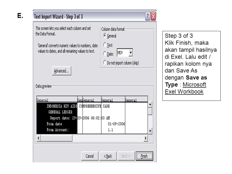 E.Step 3 of 3 Klik Finish, maka akan tampil hasilnya di Exel.