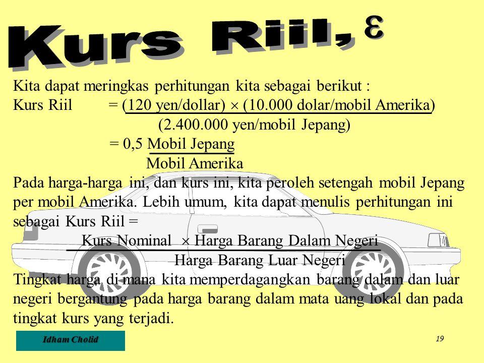 Idham Cholid 19 Kita dapat meringkas perhitungan kita sebagai berikut : Kurs Riil = (120 yen/dollar)  (10.000 dolar/mobil Amerika) (2.400.000 yen/mob