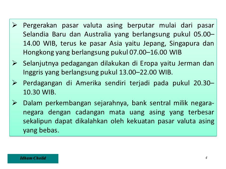 Idham Cholid 4  Pergerakan pasar valuta asing berputar mulai dari pasar Selandia Baru dan Australia yang berlangsung pukul 05.00– 14.00 WIB, terus ke