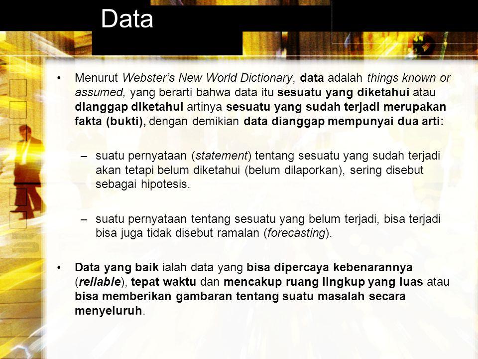 Data Menurut Webster's New World Dictionary, data adalah things known or assumed, yang berarti bahwa data itu sesuatu yang diketahui atau dianggap dik