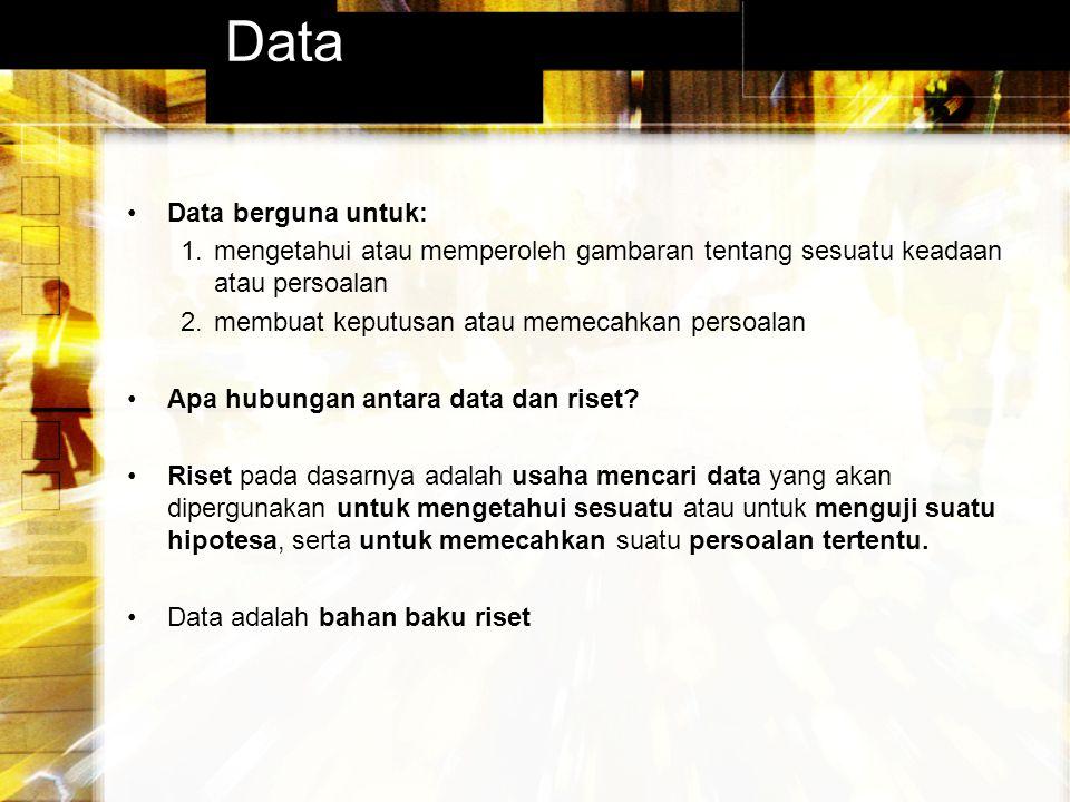 Data Data berguna untuk: 1.mengetahui atau memperoleh gambaran tentang sesuatu keadaan atau persoalan 2.membuat keputusan atau memecahkan persoalan Ap