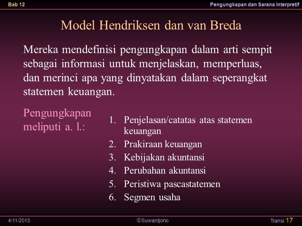  Suwardjono Bab 12Pengungkapan dan Sarana Interpretif 4/11/2015 Transi 17 Model Hendriksen dan van Breda 1.Penjelasan/catatas atas statemen keuangan