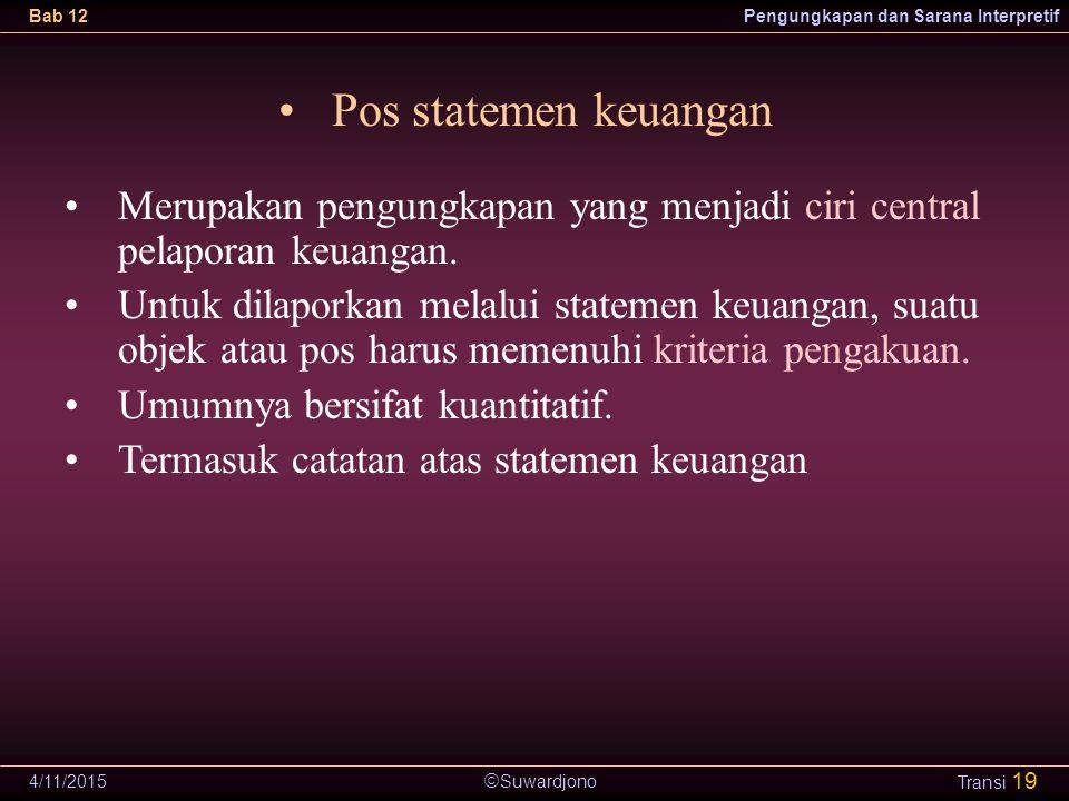  Suwardjono Bab 12Pengungkapan dan Sarana Interpretif 4/11/2015 Transi 19 Pos statemen keuangan Merupakan pengungkapan yang menjadi ciri central pela