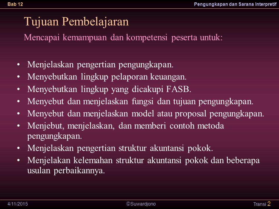  Suwardjono Bab 12Pengungkapan dan Sarana Interpretif 4/11/2015 Transi 2 Menjelaskan pengertian pengungkapan. Menyebutkan lingkup pelaporan keuangan.