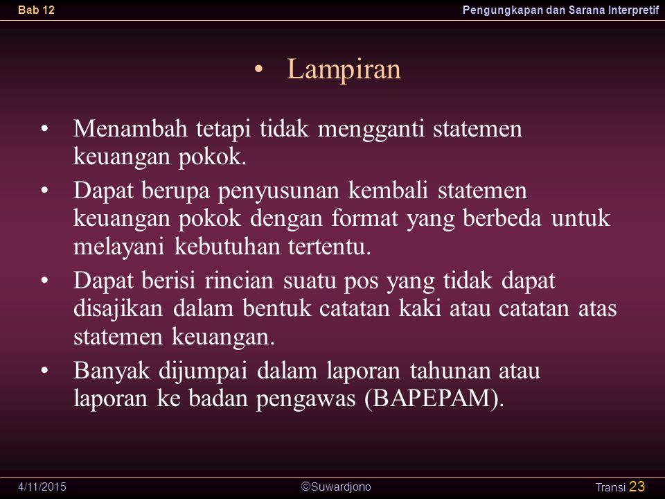  Suwardjono Bab 12Pengungkapan dan Sarana Interpretif 4/11/2015 Transi 23 Lampiran Menambah tetapi tidak mengganti statemen keuangan pokok. Dapat ber