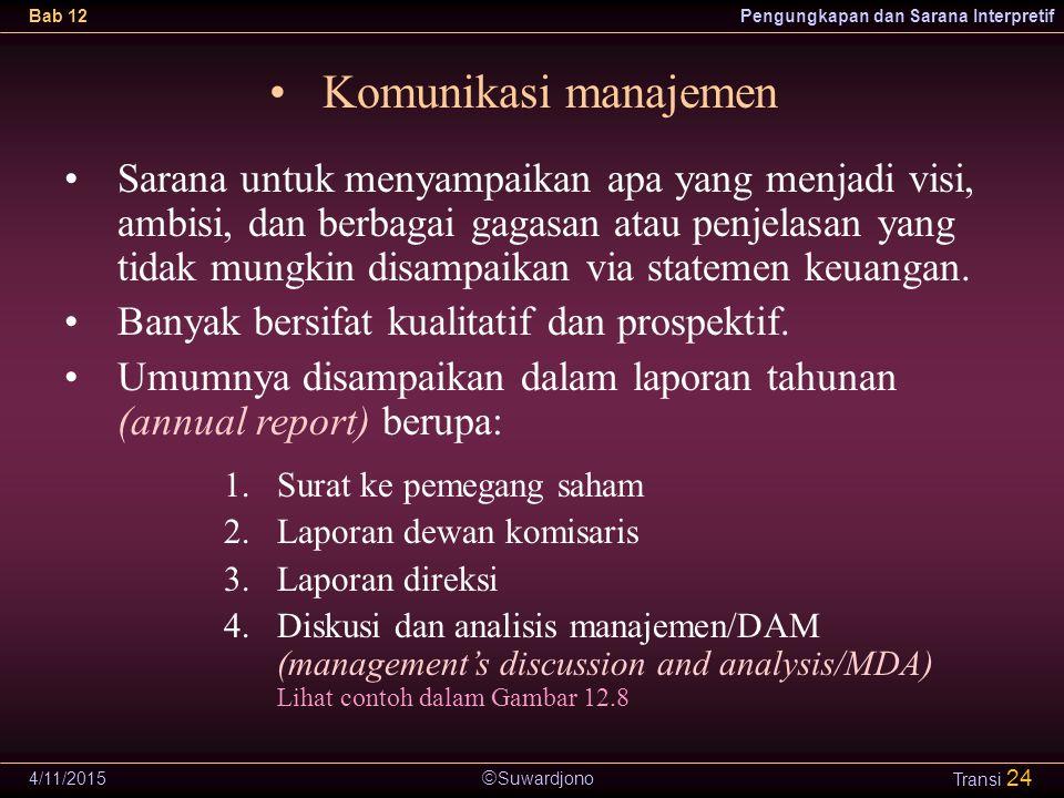  Suwardjono Bab 12Pengungkapan dan Sarana Interpretif 4/11/2015 Transi 24 Komunikasi manajemen Sarana untuk menyampaikan apa yang menjadi visi, ambis
