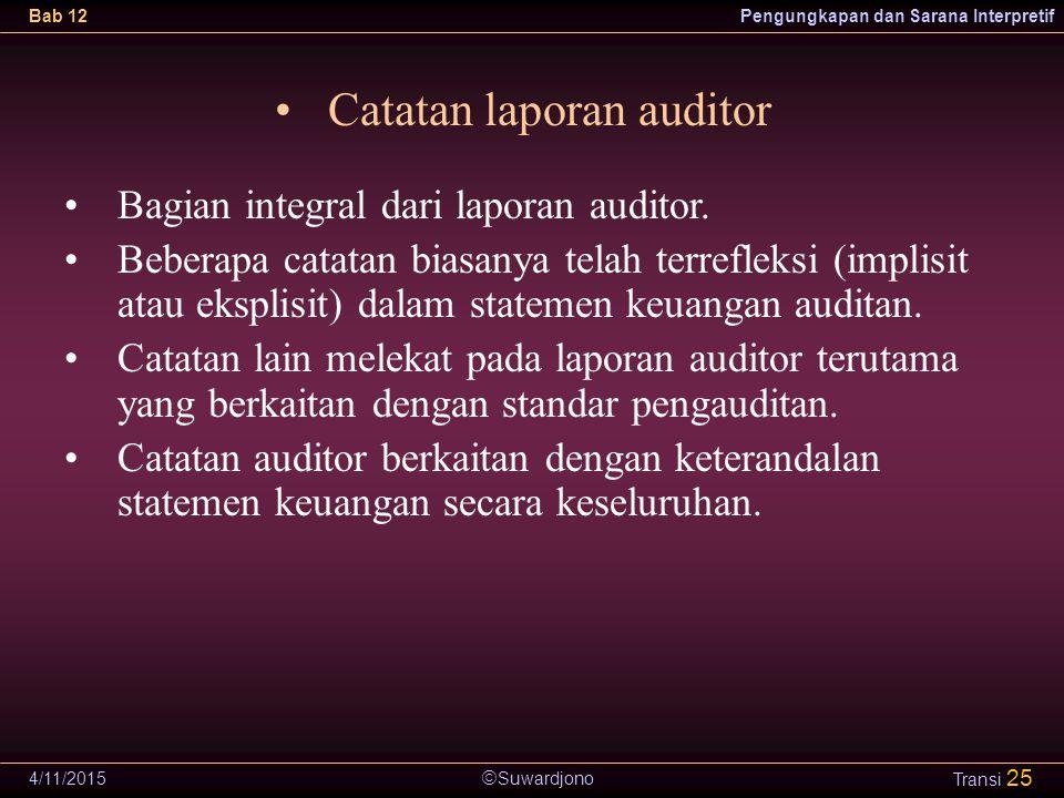  Suwardjono Bab 12Pengungkapan dan Sarana Interpretif 4/11/2015 Transi 25 Catatan laporan auditor Bagian integral dari laporan auditor. Beberapa cata