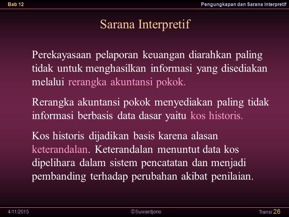  Suwardjono Bab 12Pengungkapan dan Sarana Interpretif 4/11/2015 Transi 26 Sarana Interpretif Perekayasaan pelaporan keuangan diarahkan paling tidak u