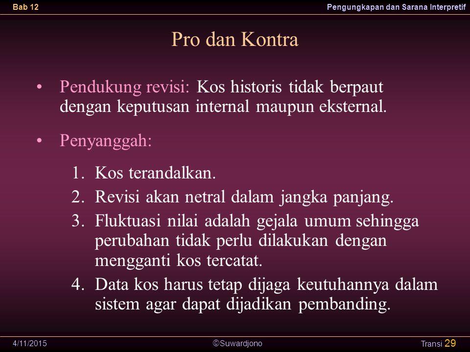  Suwardjono Bab 12Pengungkapan dan Sarana Interpretif 4/11/2015 Transi 29 Pro dan Kontra Pendukung revisi: Kos historis tidak berpaut dengan keputusa