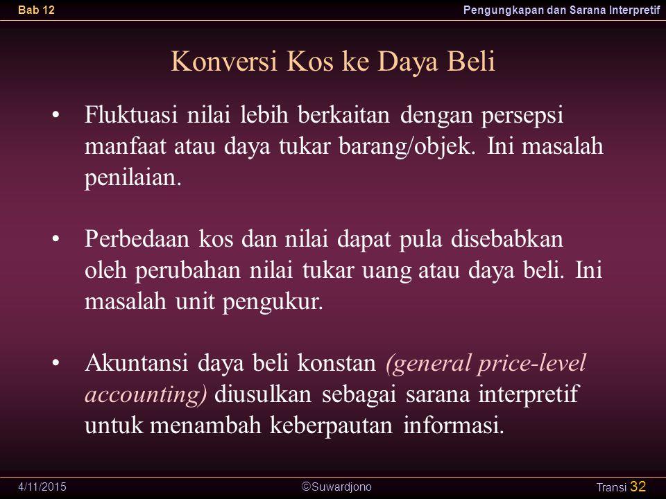  Suwardjono Bab 12Pengungkapan dan Sarana Interpretif 4/11/2015 Transi 32 Konversi Kos ke Daya Beli Fluktuasi nilai lebih berkaitan dengan persepsi m