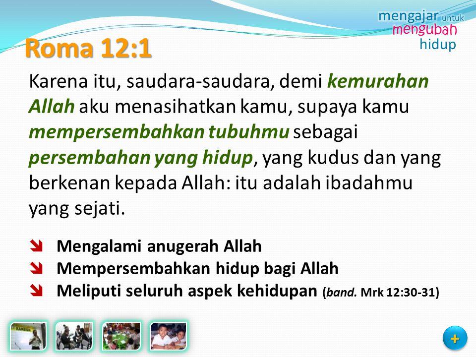 Roma 12:1 Karena itu, saudara-saudara, demi kemurahan Allah aku menasihatkan kamu, supaya kamu mempersembahkan tubuhmu sebagai persembahan yang hidup,